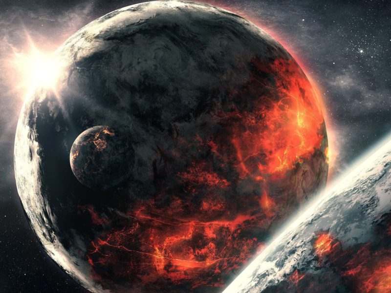 Abstract apocalyptic background – Burning and Exploding planets .