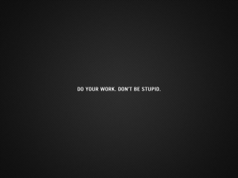 Do Your Work Dont Be Stupid1