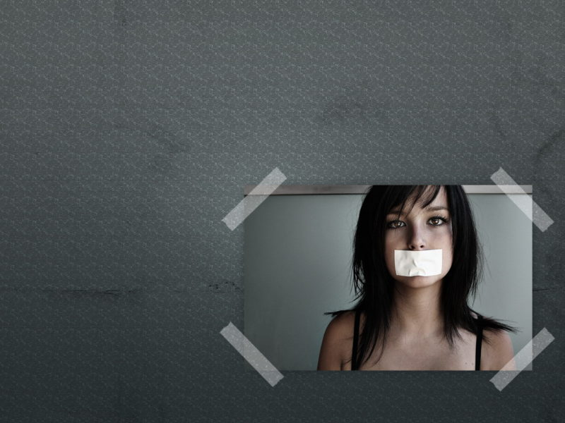 Funny Wallpapers A Girl With A Taped Mouth 100265