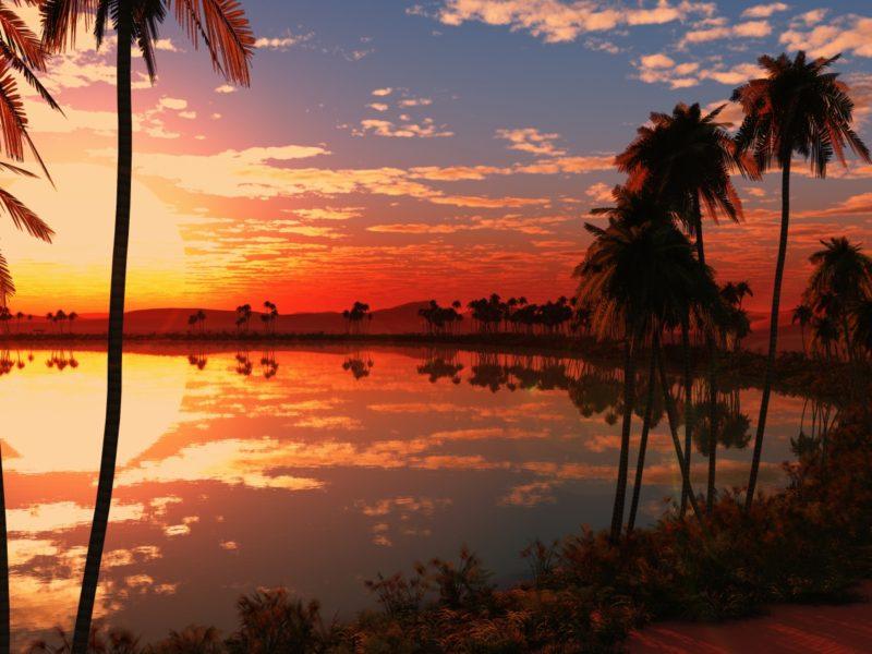 Beautiful Lake Sunset 1600×900