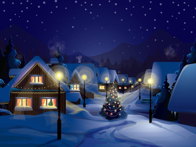 Christmas Village Painting
