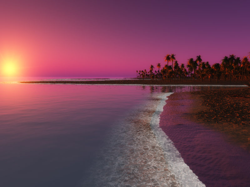 Digital Coastal Beach Sunset Wide