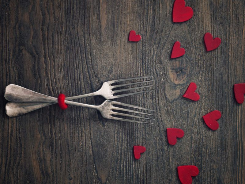 Fork Art Red Hearts