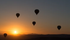 Hot Air Balloons Sunset Wide