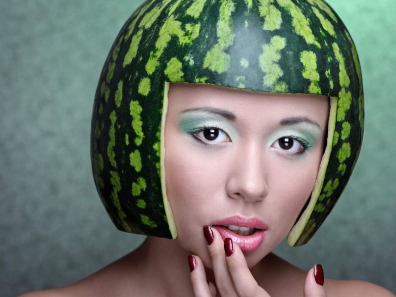 Melon Hat Girl Funny 4k
