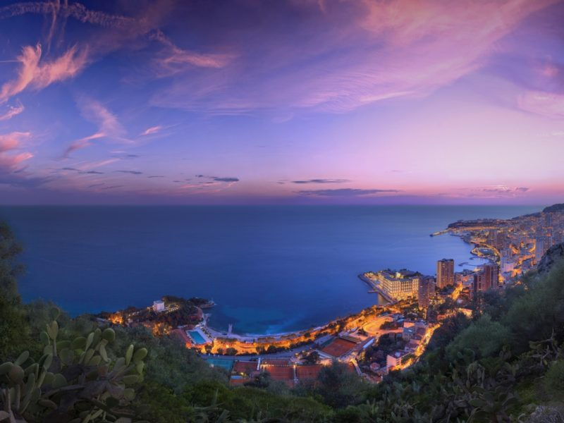 Monaco Purple Clouds Sunset 1600×900