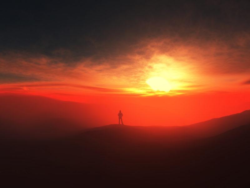 Sunset Alone Wide