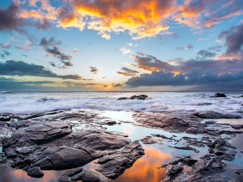 Sunset Maui Hawaiian Island 1600×900