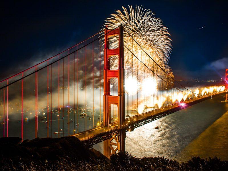 Bridge New Year San Francisco Boats Bridges 2560×1600 Wallpaper