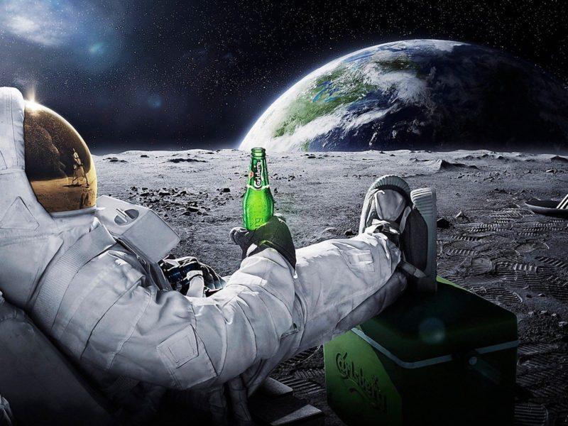Astronaut Drinks Beer Humor