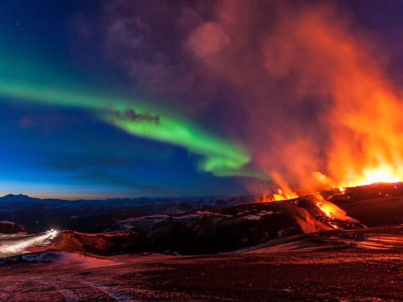 Aurora Over The Volcano