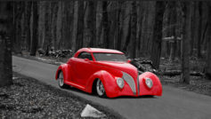 1937 Ford (red) On Road Thru Woods