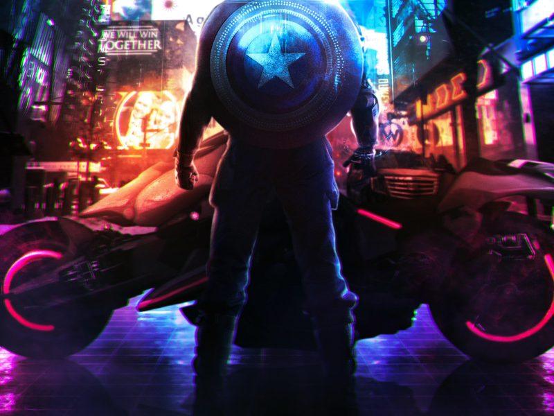 Cyberpunk 2077:Captain America(Neon Concept Art)