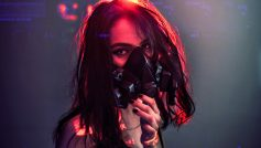 Sci Fi Cyberpunk Girl With Gas Mask